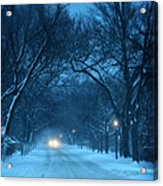 Snowy Road On A Winter Evening Acrylic Print