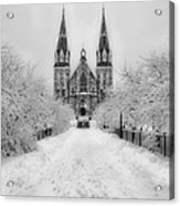 Snowy Villanova In Black And White Acrylic Print