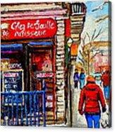 Snowy Walk By The Tea Room And Pastry Shop Winter Street Montreal Art Carole Spandau  Acrylic Print