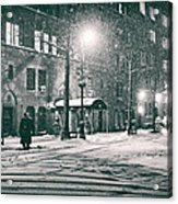 Snowy Winter Night - Sutton Place - New York City Acrylic Print