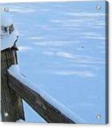 Snowy Wood Fence Acrylic Print