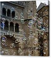 Soap-bubbles In Front Of An Ancient Cathedral Acrylic Print