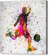 Soccer Player - Kicking Ball Acrylic Print