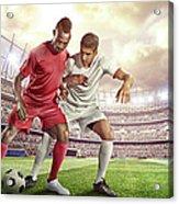 Soccer Player Tackling Ball In Stadium Acrylic Print