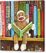 Sock Monkey Reading A Book Acrylic Print