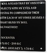 Socrates Quote In Negative Acrylic Print