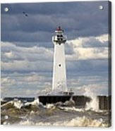 Sodus Outer Lighthouse On Stormy Lake Acrylic Print