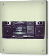 Soft Black Boombox Centered With White Acrylic Print
