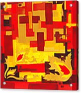 Soft Geometrics Abstract In Red And Yellow Impression I Acrylic Print
