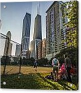 Softball By Skyscrapers Acrylic Print