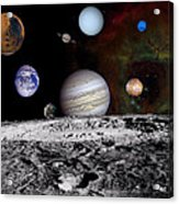 Solar System Montage Of Voyager Images Acrylic Print by Movie Poster Prints