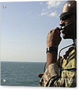 Soldier Instructs Small Boat Maneuvers Acrylic Print