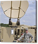 Soldier Stands Next To A Satellite Acrylic Print