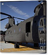 Soldiers Being Briefed Behind A Ch-47 Acrylic Print