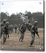 Soldiers Exit A Ch-47 Chinook Acrylic Print