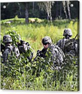 Soldiers Maintain Security At Fort Acrylic Print