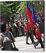 Some Young Flag Bearers Marching In The St. Patrick Old Cathedral Parade Acrylic Print