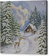 Somewhere In The Snowy Forest Acrylic Print