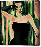 Sophia Loren - Green Pop Art Acrylic Print by Absinthe Art By Michelle LeAnn Scott