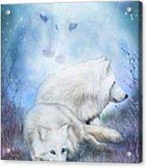 Soul Mates - White Wolves Acrylic Print