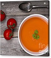 Soup On Wood Table Acrylic Print by Jane Rix