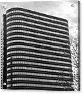 Soutfield Round Hi Rise Black And White Acrylic Print by Bill Woodstock