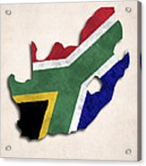 South Africa Map Art With Flag Design Acrylic Print