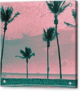 South Beach Miami Tropical Art Deco Five Palms Acrylic Print