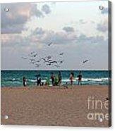 South Beach Scene Acrylic Print