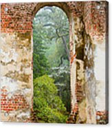 South Carolina Historic Church Photo Sheldon Ruins-- Another View From The Inside Acrylic Print