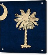 South Carolina State Flag Art On Worn Canvas Acrylic Print