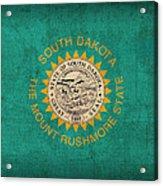 South Dakota State Flag Art On Worn Canvas Acrylic Print
