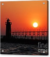 South Haven Lighthouse At Sunset 1 Acrylic Print