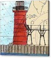 South Haven Lighthouse Mi Nautical Chart Map Art Cathy Peek Acrylic Print