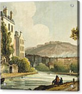 South Parade From Bath Illustrated Acrylic Print by John Claude Nattes