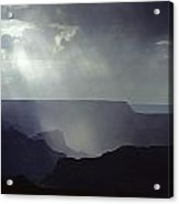 South Rim Grand Canyon Storm Clouds And Light On Rock Formations Acrylic Print