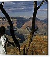 South Rim Grand Canyon Sunset Light On Rock Formations With Woma Acrylic Print