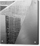 South Tower Reflections In Black And White Acrylic Print
