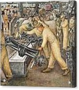 South Wall Of A Mural Depicting Detroit Industry Acrylic Print by Diego Rivera