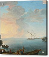 Southern Mediterranean Seascape With Boats And Figures At Sunset Acrylic Print