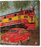 Southern Pacific Train 1951 Kaiser Frazer Car Rr Crossing Acrylic Print
