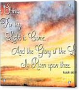 Southern Sunset - Digital Paint IIi With Verse Acrylic Print