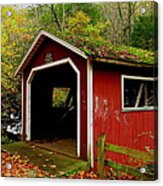 Southford Falls Covered Bridge And Waterfall Acrylic Print by Stephen Melcher