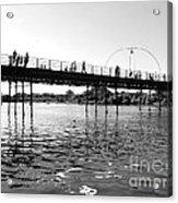 Southport Pier Across The Marine Lake Bw Acrylic Print