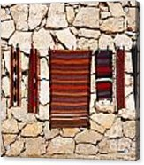 Souvenir Rugs For Sale At Wadi Mujib Jordan Acrylic Print by Robert Preston
