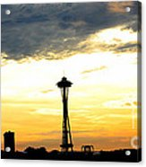 Space Needle Sunset Sillouette Acrylic Print