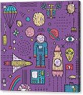 Space Planets Stars Cosmonaut Design Acrylic Print