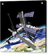 Space Station In Orbit Around Earth Acrylic Print