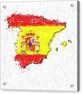 Spain Painted Flag Map Acrylic Print