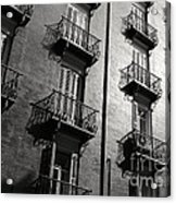Spanish Balconies - Black And White Acrylic Print